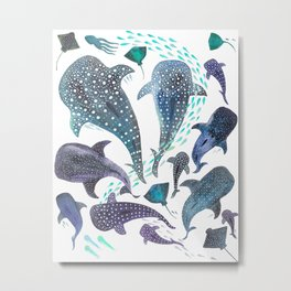 Whale Shark, Ray & Sea Creature Play Print Metal Print