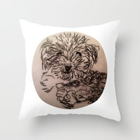 poodle Throw Pillows featuring poodle by The Traveling Catburys
