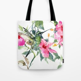 HIbiscus and Hummingbird Tote Bag