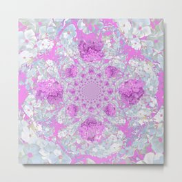 DELICATE LILAC & WHITE PHLOX FLOWERS  ABSTRACT PATTERNS Metal Print