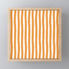 Orange and White Cabana Stripes Palm Beach Preppy Framed Mini Art Print