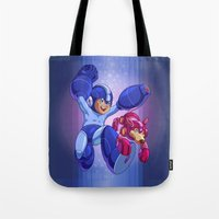 megaman Tote Bags featuring  Classic Megaman by albertsurpower