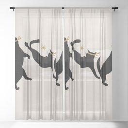 Ninja Cats I. Sheer Curtain