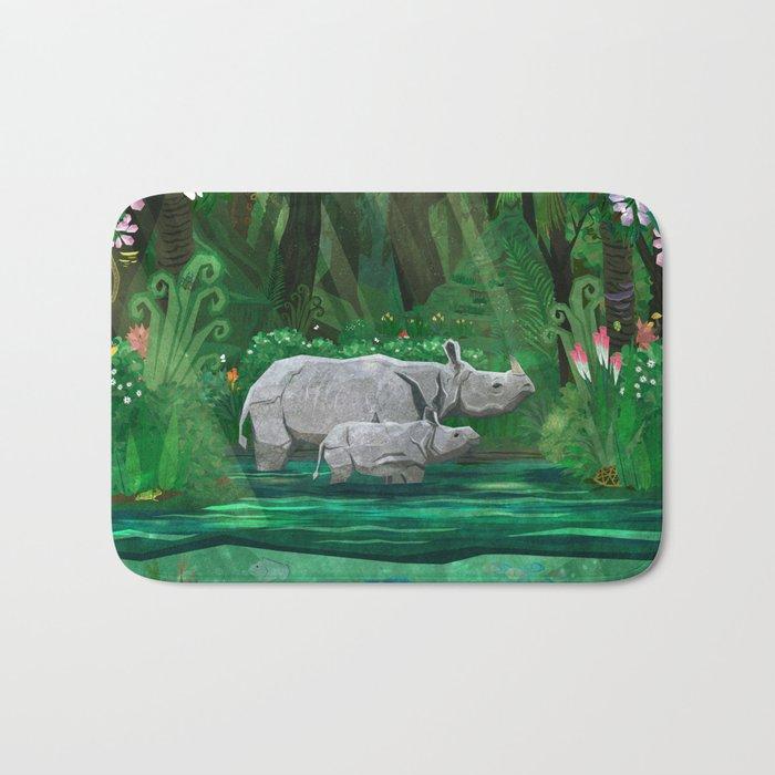 Rhinoceros mom and cub Bath Mat