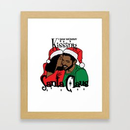 Mommy Kissing Santa Claus Framed Art Print