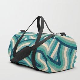 Teal Vintage Faded 70's Style Rainbow Stripes Duffle Bag