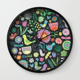Birds & Blooms - Pastels on Black Wall Clock