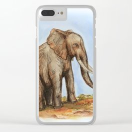 The Majestic African Elephant Clear iPhone Case