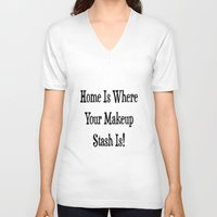 makeup V-neck T-shirts featuring MAKEUP by I Love Decor