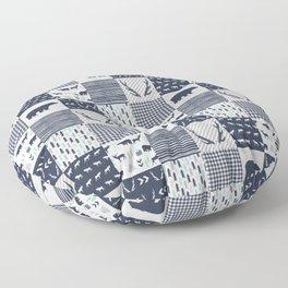 Camper antlers bears pattern minimal nursery basic navy mint grey white camping cabin chalet decor Floor Pillow