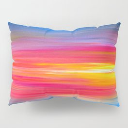 BRIGHT HORIZONS Bold Colorful Rainbow Pink Yellow Blue Abstract Painting Sunrise Sunset Stripes  Pillow Sham