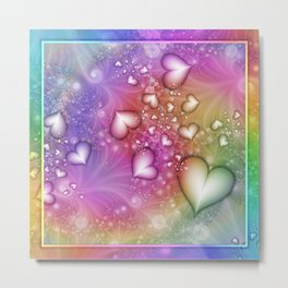 Rainbow Love Hearts Fractal Metal Print