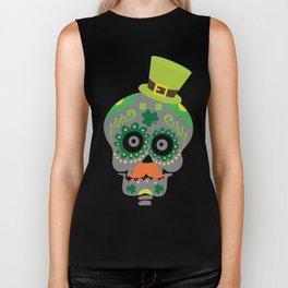 Irish Sugar Skull Funny St Patricks Day Biker Tank