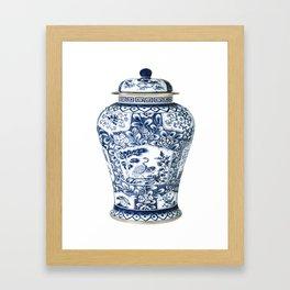 Blue & White Chinoiserie Cranes Porcelain Ginger Jar Framed Art Print