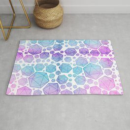 Pink & Blue Glow d20 Collage Rug