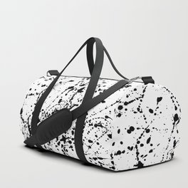 Splat Black on White Duffle Bag