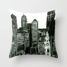 Black and White Philly Skyline Throw Pillow