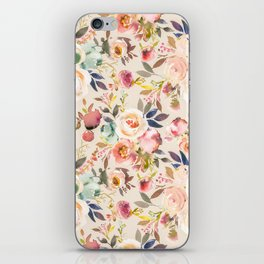 Hand painted ivory pink brown watercolor country floral iPhone Skin