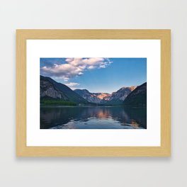 Beautiful sunset in Hallstatt village above the lake, Austria Framed Art Print