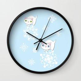 Feline Snowflake Pals Wall Clock