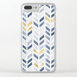 Herringbone chevron pattern. Indigo gold acrylic on canvas Clear iPhone Case