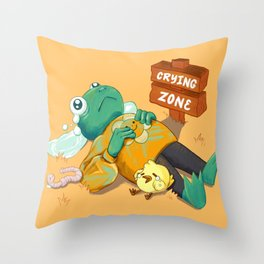Crying Zone Frog Throw Pillow