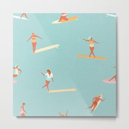Flat Style Girl Surfing Pattern Metal Print