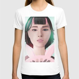 South Korean Girl With Hair Rollers and Bunny Ear Fan Portrait for K-Pop Lovers T-shirt