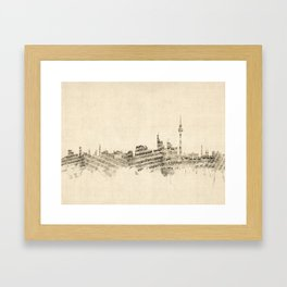 Berlin Germany Skyline Sheet Music Cityscape Framed Art Print