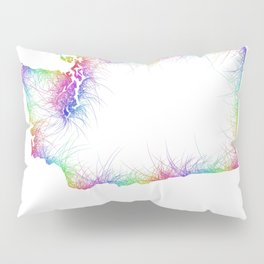 Rainbow Washington map Pillow Sham