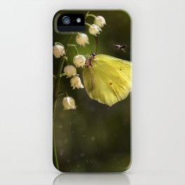Yellow butterfly on lily of the valley flowers iPhone Case