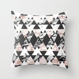 Modern Black White Rose Gold Marble Geo Triangles Throw Pillow