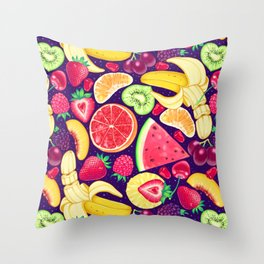 Fruit Cocktail on Blue Throw Pillow