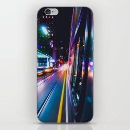 TORONTO STREETCAR AT NIGHT SPEEDING THROUGH DOWNTOWN CORE iPhone Skin
