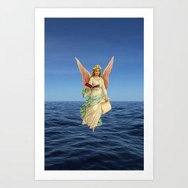 Christmas Card (Angel Ocean) Art Print