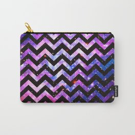 Girly Chevron Pattern Cute Pink Teal Nebula Galaxy Carry-All Pouch