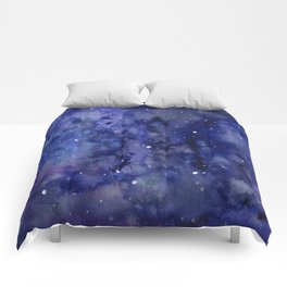Night Sky Galaxy Nebula Stars Watercolor Space Texture Comforters