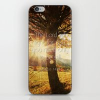bible verses iPhone & iPod Skins featuring Typographic Motivational Bible Verses - Exodus 14:14 by The Wooden Tree