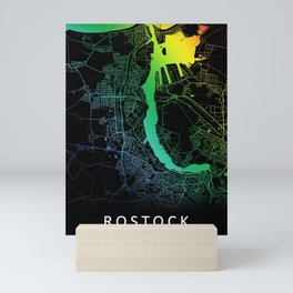 Rostock, Germany, City, Map, Rainbow, Map, Art, Print Mini Art Print