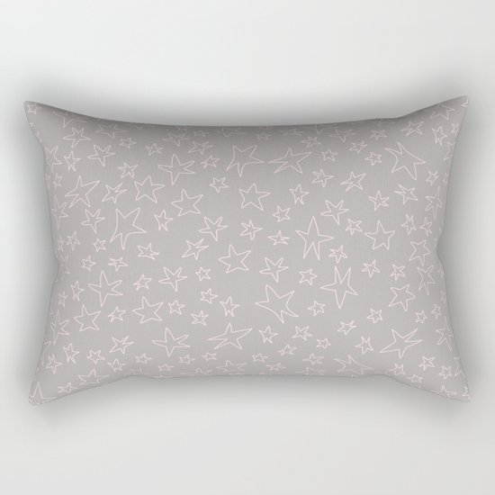 Pink handpainted little stars on grey background Rectangular Pillow