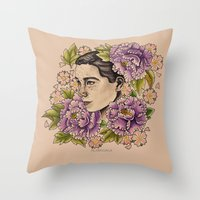 bjork Throw Pillows featuring Bjork by alxbngala