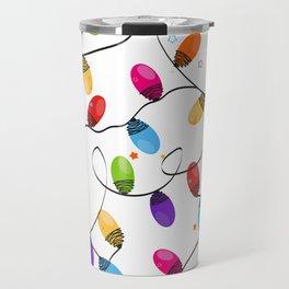 New year background design. Colorful Christmas light bulb Travel Mug