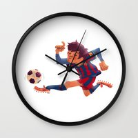 messi Wall Clocks featuring Lionel Messi, Barcelona Jersey by Mike Laughead