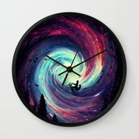 bike Wall Clocks featuring Adventure Awaits by nicebleed