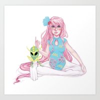 Lucy and the Mothership Art Print