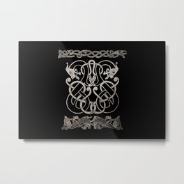 Old norse design - Two Jellinge-style entwined beasts originally carved on a rune stone in Gotland. Metal Print