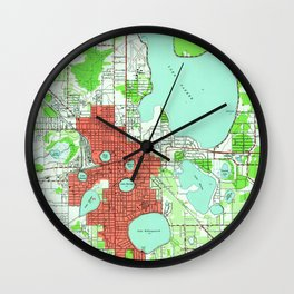 Vintage Map of Lakeland Florida (1944) Wall Clock