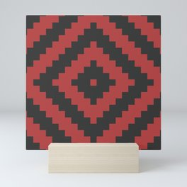 Traditional geometric pattern in modern colors, red Mini Art Print