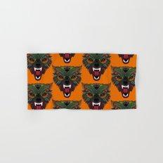 wolf fight flight orange Hand & Bath Towel