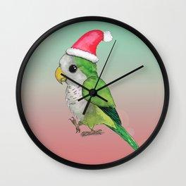 Green Christmas parrot Wall Clock